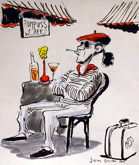 French Cafe Drawing Jeremy Bernstein